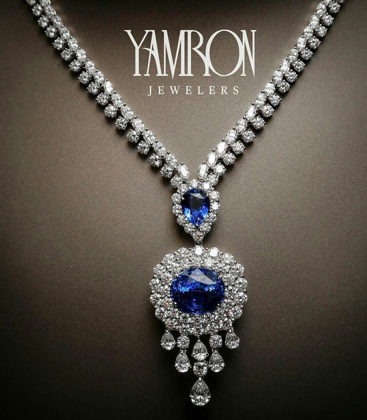 """Yamron Jewelers_ Cue the Celine Dion music ladies and gentleman....Introducing """"The Titanic,""""28cts of stunning blue sapphires doused in 40cts of gorgeous round and oval diamonds. The best part is that the pendant is removable leaving a slightly less dramatic but ever beautiful sapphire necklace.  With Christmas and Hanukkah merely hours away, you may need to channel your inner Leo DeCaprio and buy this heirloom masterpiece for your one and only ☺"""