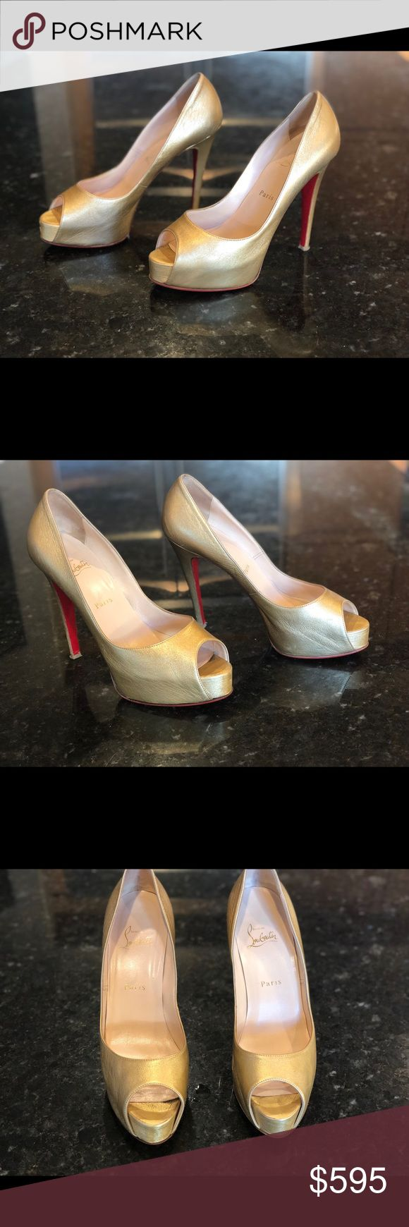Christian Louboutin gold Very Prive heels 39 Gently pre-owned Christian Louboutin Very Prive heels in gold. Size 39.5, custom vibram sole protectors added by cobbler.  Small wear noticeable only on heel. Christian Louboutin Shoes Heels
