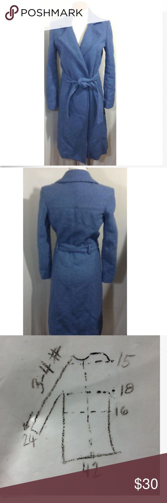 Womens Old Navy Wool Wrap Coat Blue Small Womens Old Navy wool blend lined wrap coat blue, belted size Small  Excellent condition, softer blue then the picture shows.   Measurements on a diagram in the pictures Old Navy Jackets & Coats