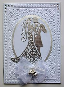 Couple die by Tattered Lace Embossing folder from Be Merry set by Sizzix Challenges Whimsy Stamps Challenge 71 - Two or More Die Cut...