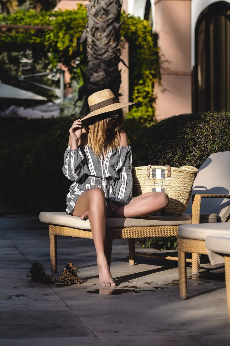 straw fedora hat, stripe off shoulder dress, straw beach bag, holiday, vacation style, summer outfit