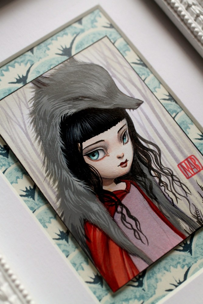 Little Red - Wolfslayer - original painting by Mab Graves