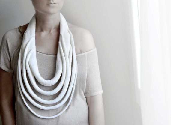 white statement necklace  big knitted necklace  Winter Accessories  For her    Textile jewelry, trendy fashion, kind to the skin from a natural