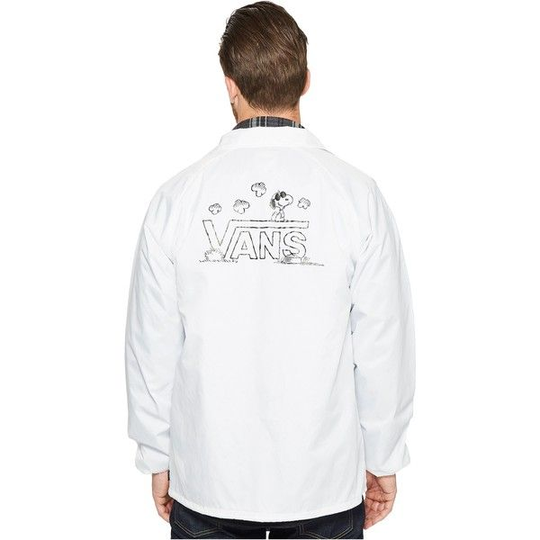 Vans Torrey X Peanuts Jacket (White (Peanuts)) ($48) ❤ liked on Polyvore featuring men's fashion, men's clothing, men's outerwear, men's jackets, white, vans mens jackets, mens collared jacket, mens nylon jacket, mens white jacket and mens lightweight jacket