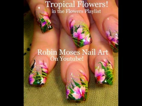 HOT Pink Tropical Flower nails | Pretty Glitter Orchid Nail Art design tutorial - YouTube