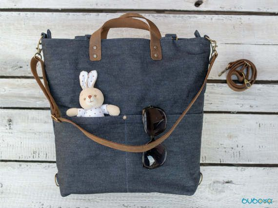 FREE SHIPPING***WAXED Diaper Bag, Denim Bag, Leather Straps,Shoulder Bag, Waxed Fabric