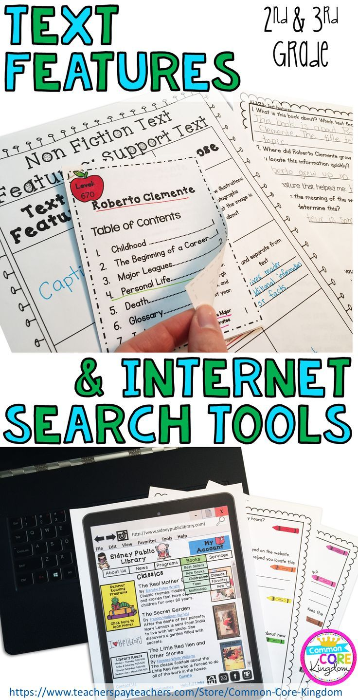 Are you looking for a way to teach your second and third graders about nonfiction text features and website and internet search tools? This packet of reading comprehension passages contains a mini books with text features such as glossaries, table of contents, and photographs and printable websites with search tools such as electronic menus, sidebars, and hyperlinks with comprehension questions. These worksheets will help your 2nd and 3rd graders master Common Core Standard RL.2.5 and…