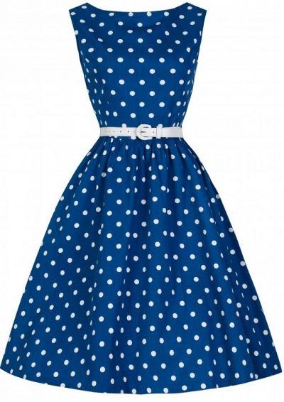 POSHme - LindyBop šaty Audrey, modré s puntíky
