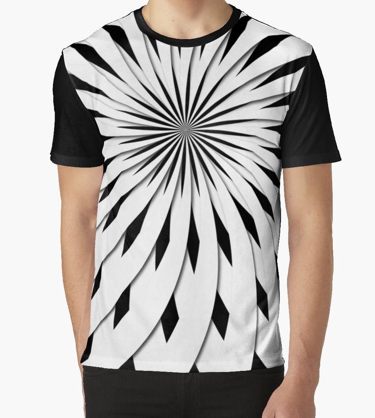 3D - no just an optical illusion geometric flower optical illusion by stuARTconcepts #redbubble #tshirt #fashion #opart #optical_illusion #blacknwhite, #tshirts #illusion