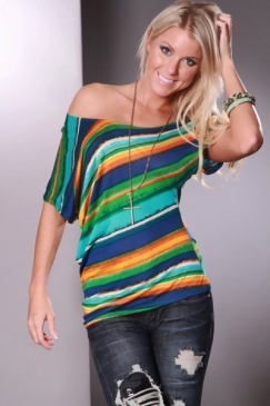 Jade Multi Printed design Off The Shoulder Sexy Top $18.99