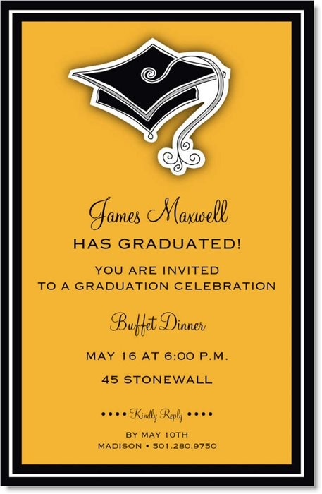 Hats Off Orange Graduation Invitations