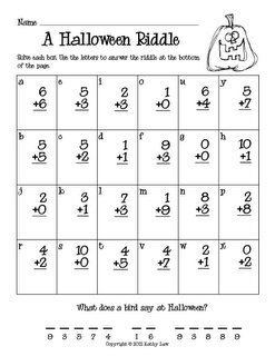 addition and subtraction Halloween riddles