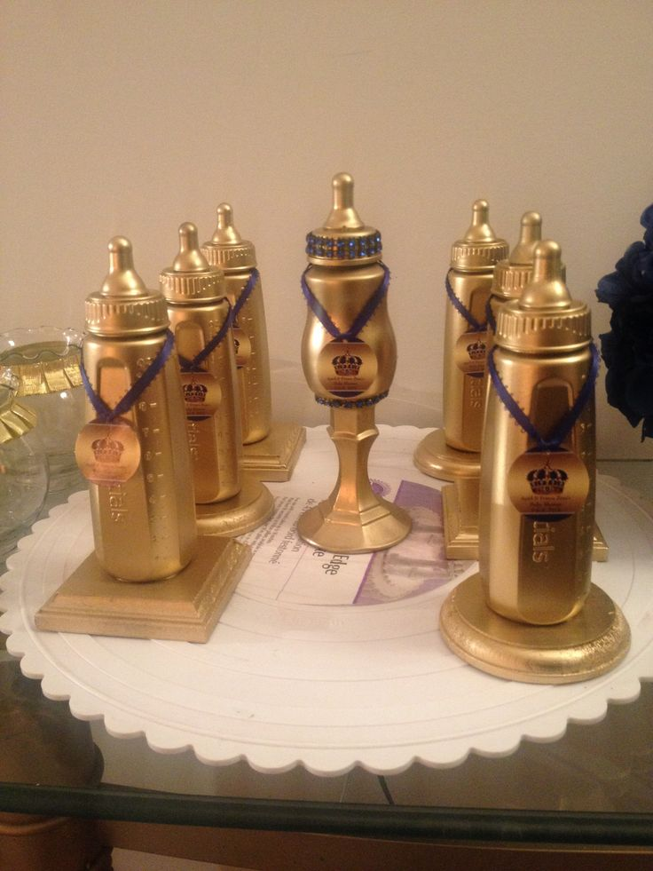 Creative Creations By Adrienne, Royal Gold & Royal Blue Trophy Bottles used for game prizes at April's Baby Shower!! 2/8/2015