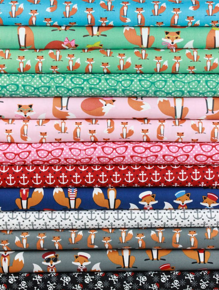 Andie Hanna for Robert Kaufman, Fabulous Foxes in FAT QUARTERS 13 Total