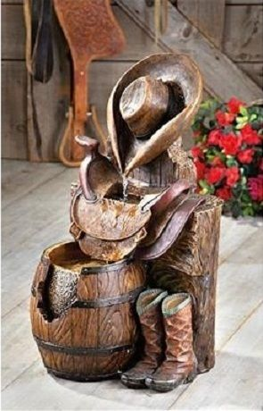 Western Water Fountain Cowboy Boots Saddle Barrel Country Ranch Indoor Outdoor