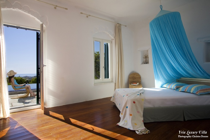 A lovely bedroom at the exclusive ultra luxurious villa of the Yria Resort & Spa on the island of Paros, Greece