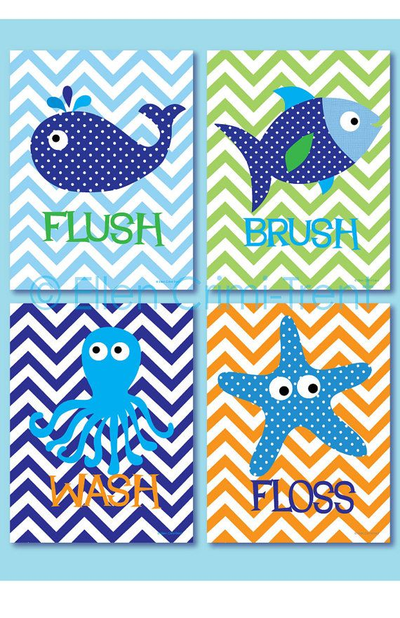 Kids Wall Art Sea Creature Bathroom print set by EllenCrimiTrent, $65.00