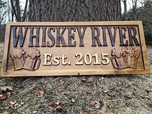 HomeDecorLive.com Personalized Bar Sign Custom Carved Wood Sign Personalized Wood Sign Groomsmen Gift Cabin Sign Man Cave Sign Pub Rustic Home Decor Housewarming Gift Wine Cellar Beer Basement Bar Decor