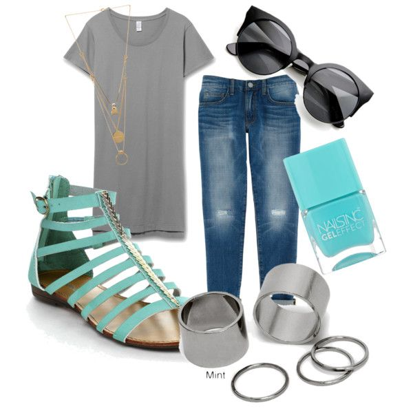 again.. with the summer idea by ilmadhinautari on Polyvore featuring polyvore fashion style Rebecca Minkoff Maison Margiela Pieces Nails Inc.