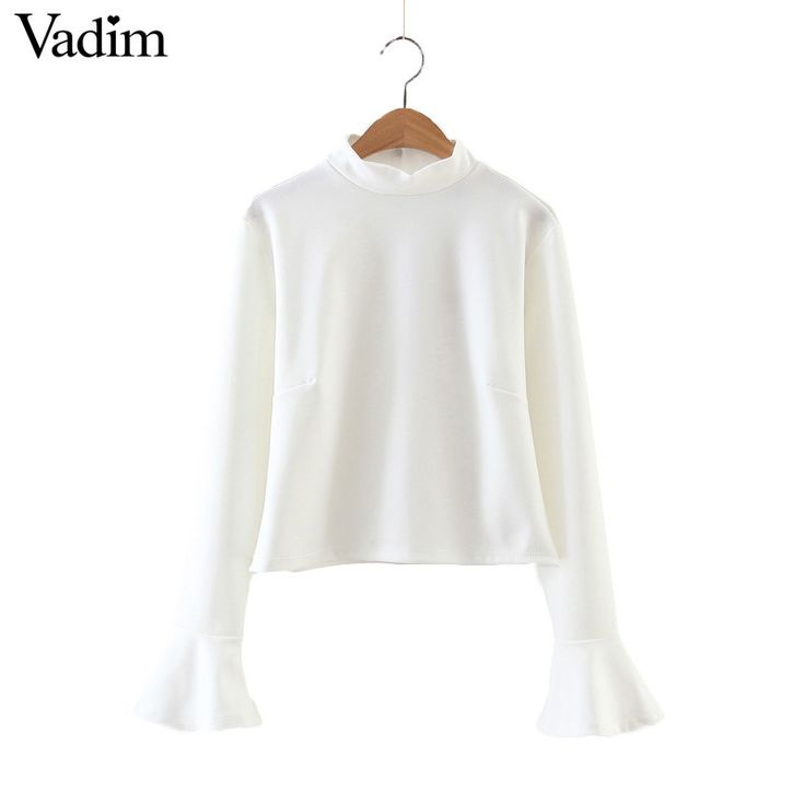 Women sweet butterfly sleeve crop top long sleeve fashion turtleneck shirts ladies basic white female casual blouse LT1299