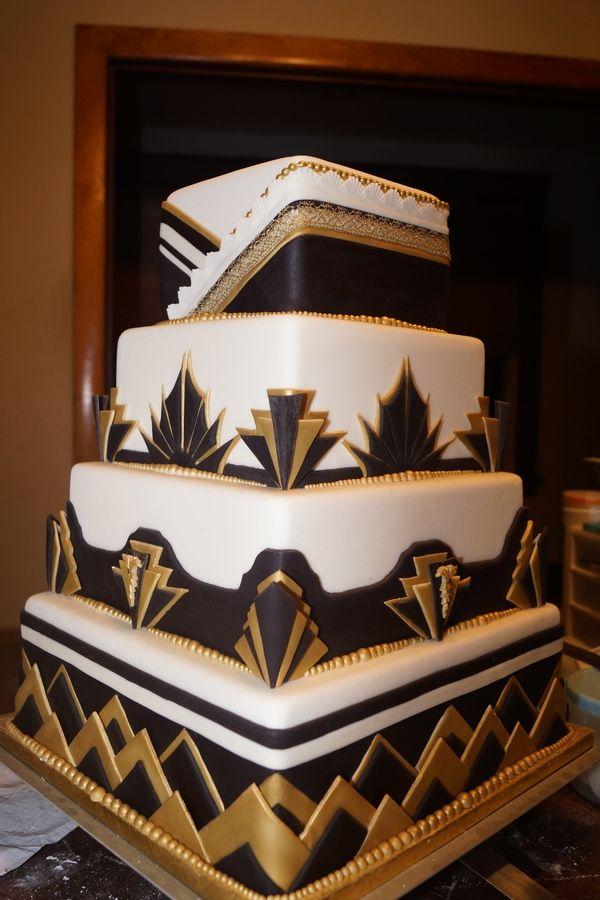 art deco wedding cakes | black, white and gold, square 4 tier wedding cake.Test cake
