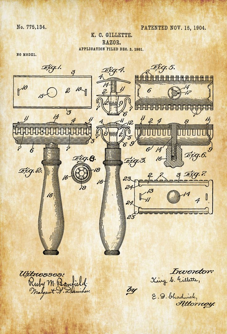 Gillette Razor Patent - Patent Print, Wall Decor, Bathroom Decor, Bathroom Art, Bathroom Poster, Bathroom Sign, Restroom Decor, Razor Patent by publiclens on Etsy