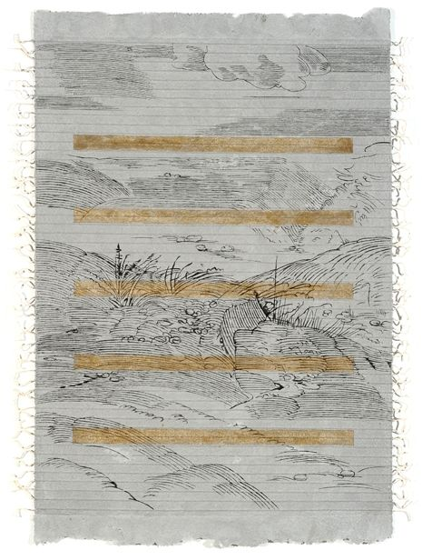 Landscape With Ore 1, Ink drawing on reconstituted pigmented archival paper with gouache and glitter, handcrafter and laminated over twine
