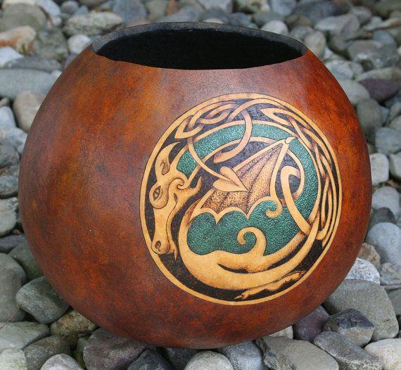 Celtic Dragon Embossed Pyrography Woodburned Gourd door JRAGourdArt, $75.00