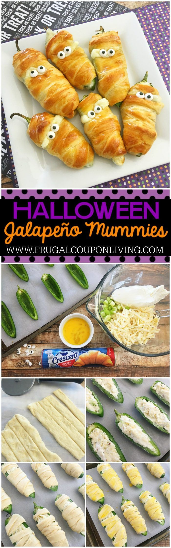 Jalapeño Popper Mummies - a Halloween Food Craft on Frugal Coupon Living plus additional Halloween food crafts for kids and adults.