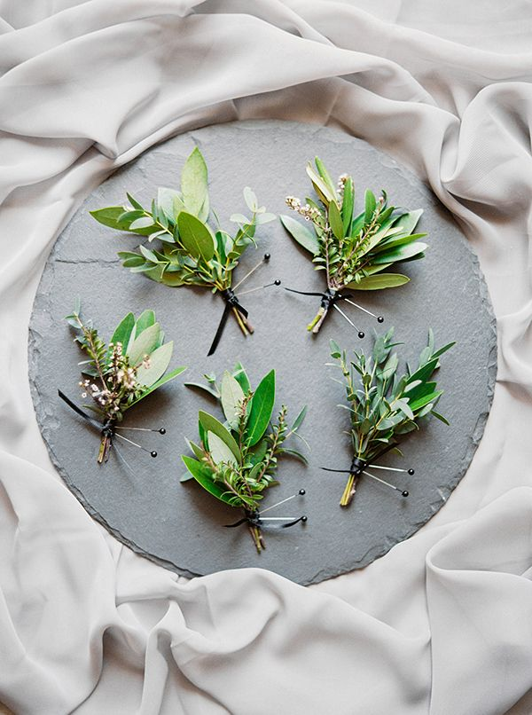 pretty green boutonnieres - something like this with gold berries?