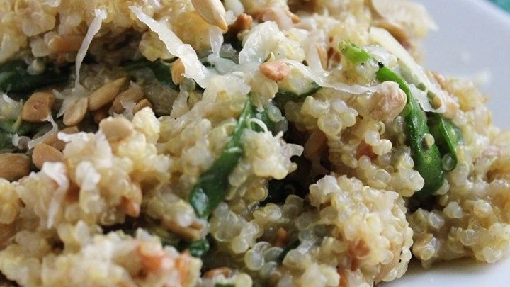 This creamy pilaf incorporates the fluffy, nutty-flavored grain, quinoa, with a decadent and delicious goat cheese gouda. This has an amazing flavor and texture. Try serving with steamed salmon.