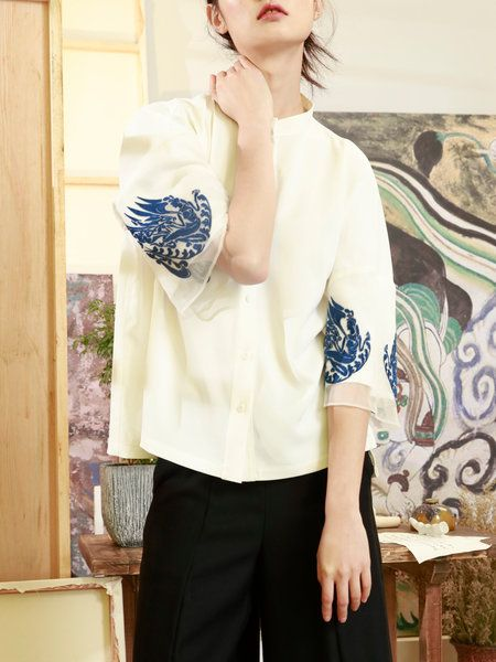 Casual H-line Stand Collar Floral Embroidered Blouse
