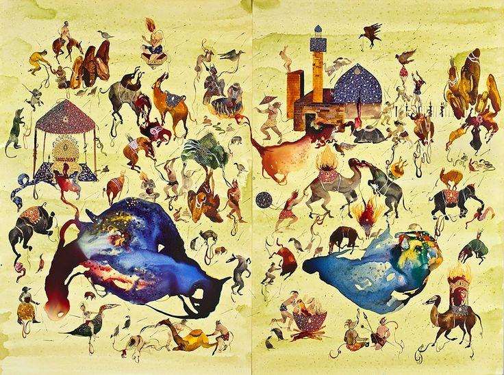 """Shiva Ahmadi, Iranian, Hades, 2011, mixed media, 80""""x60"""""""