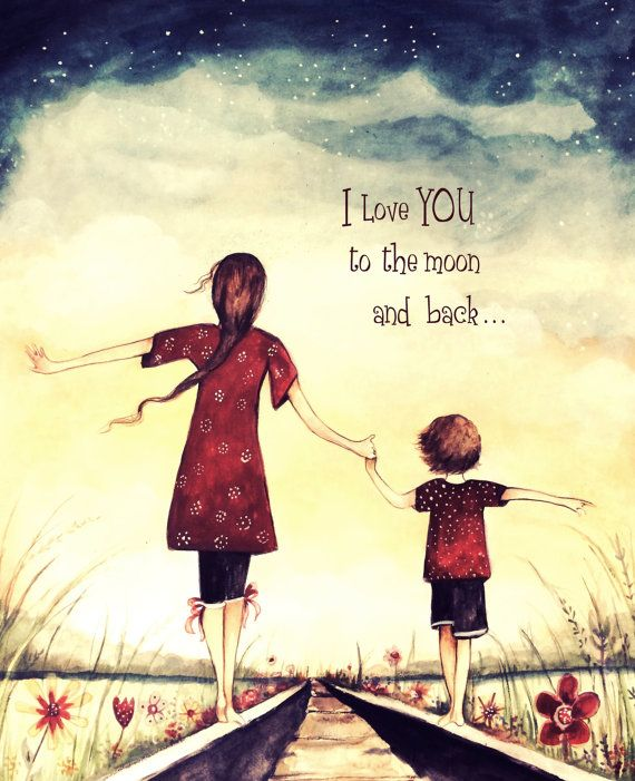 I love you to the moon and back mother and child