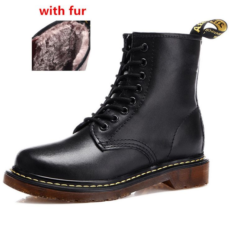 Fashion Winter Leather Dr Martin Boots Fur Martin High Top Casual Shoes Men's Boots Ankle Boats Brand Motorcycle Boots Plus Size
