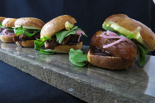 Asian Pork Belly. Pickled Red Onions. Grilled Brie Cheese. Rocket. Hoisin Sauce Sliders