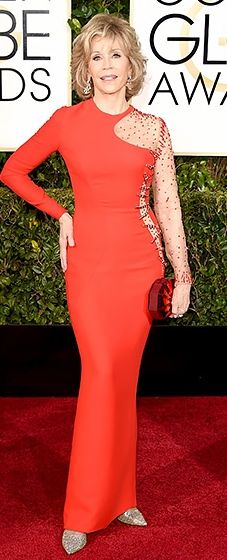 Jane Fonda: Dazzles the Red Carpet in Versace gown (with stunning cutout design), 2015 Golden Globes Awards. Show it, Don't Throw It!