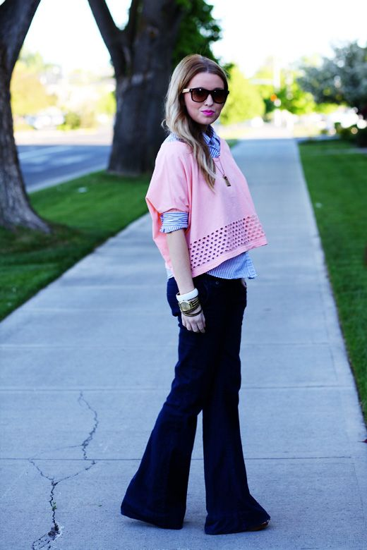 Perfect way to wear a crop/loose top. I'm sold. #thedaybook