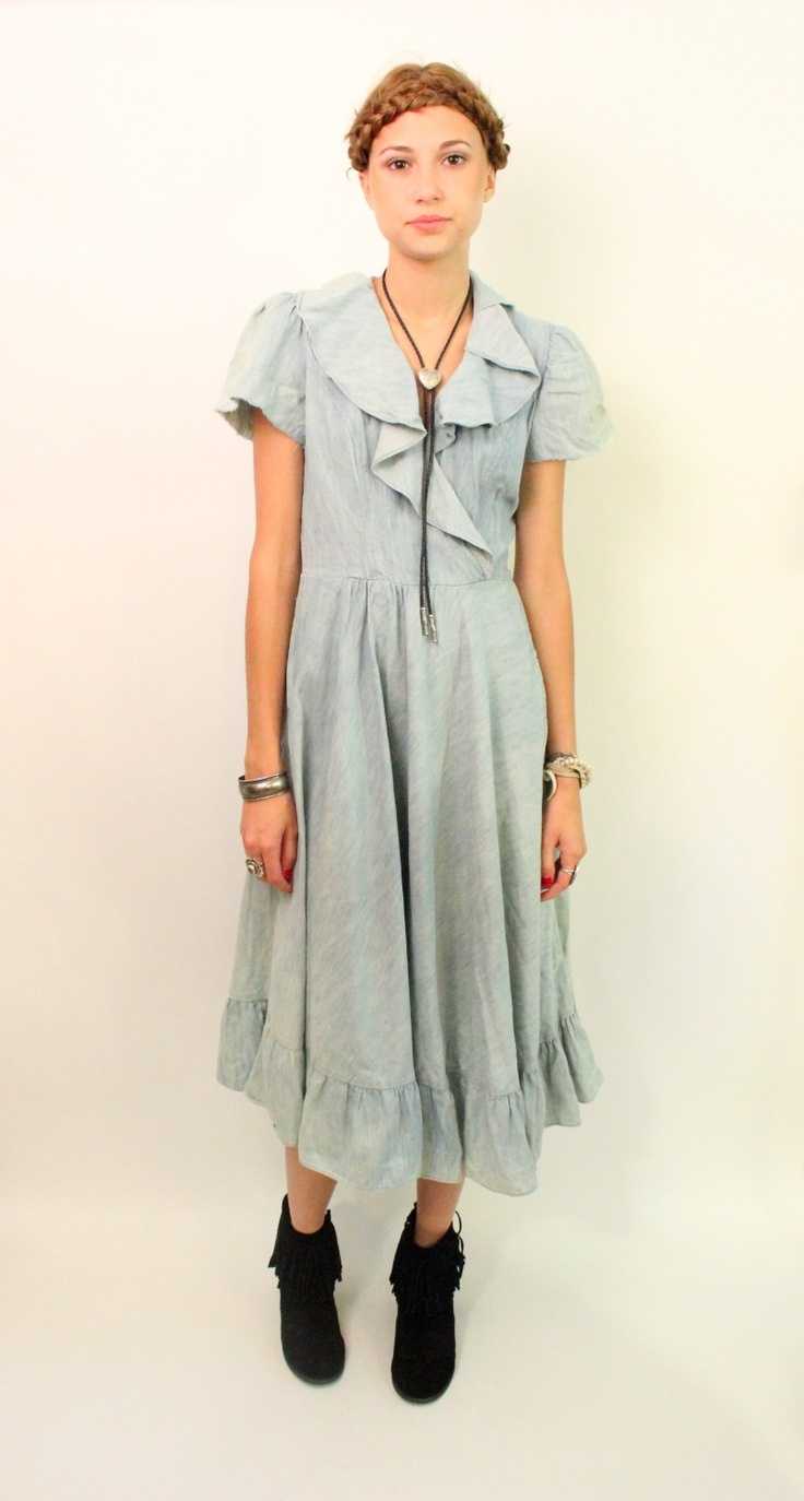 sweet chambray #vintage // BARBARA BARBARA 70s Faded Denim Ruffle Prairie Girl Dress $39