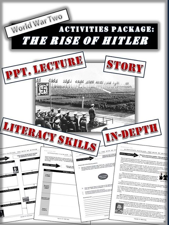 An in-depth dynamic package focusing on Hitler's life from youth to his ascension to power in 1934.