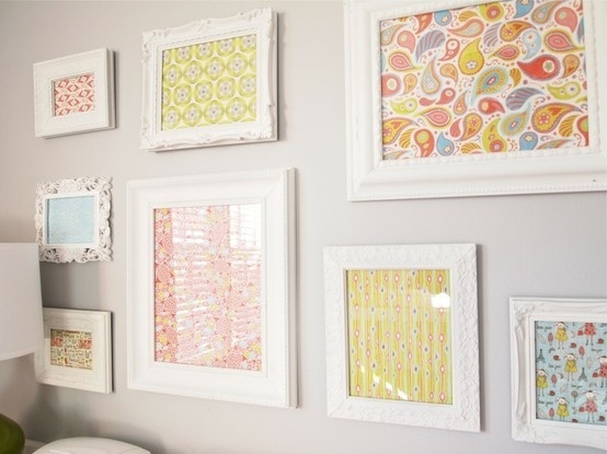 framed fabric idea for foyer spray paint frames that you have in different shapes and sizes in white marc paige pinterest different shapes