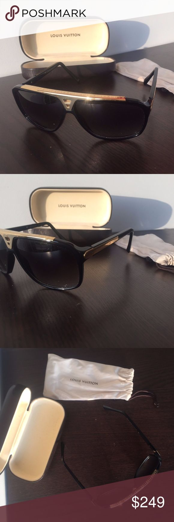 """Original Louis Vuitton """"Evidence"""" Sunglasses - Model Number Z0350W - 100% UV protection - Matching graded lenses - Sculpted and hand-polished acetate frames - Bridge and tips enhanced with a metal inlay - Minimally worn only 4-5 times with minor wear Louis Vuitton Accessories Sunglasses"""