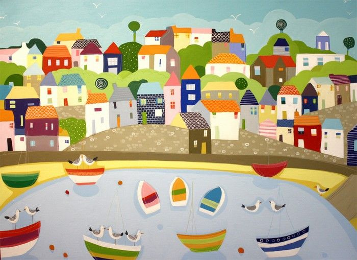 janet bell: mevagissey harbour #art #painting #colorful