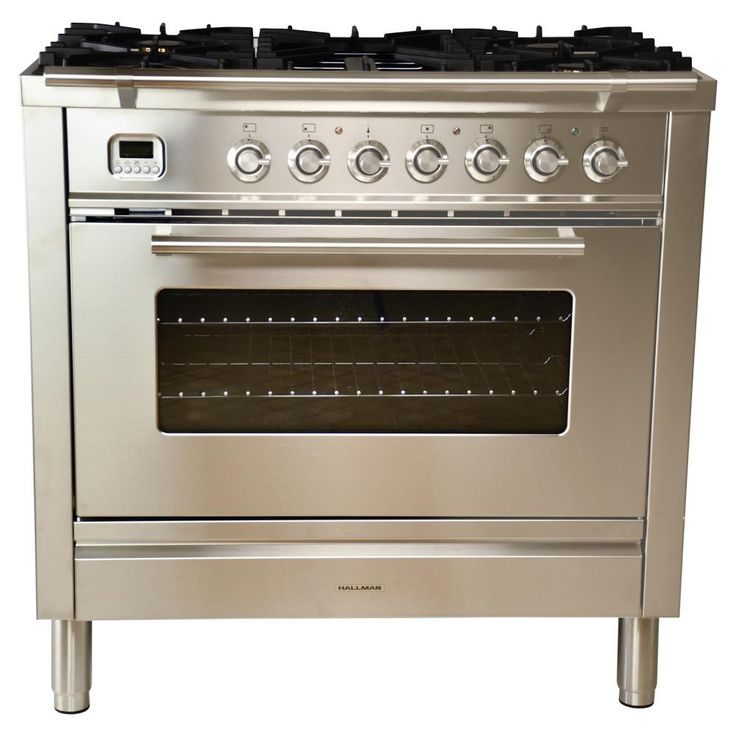 Hallman 36 in. 3.55 cu. ft. Single Oven Dual Fuel Range with True Convection, 5 Burners, and Griddle in Stainless Steel-HGR3603DFSS - The Home Depot