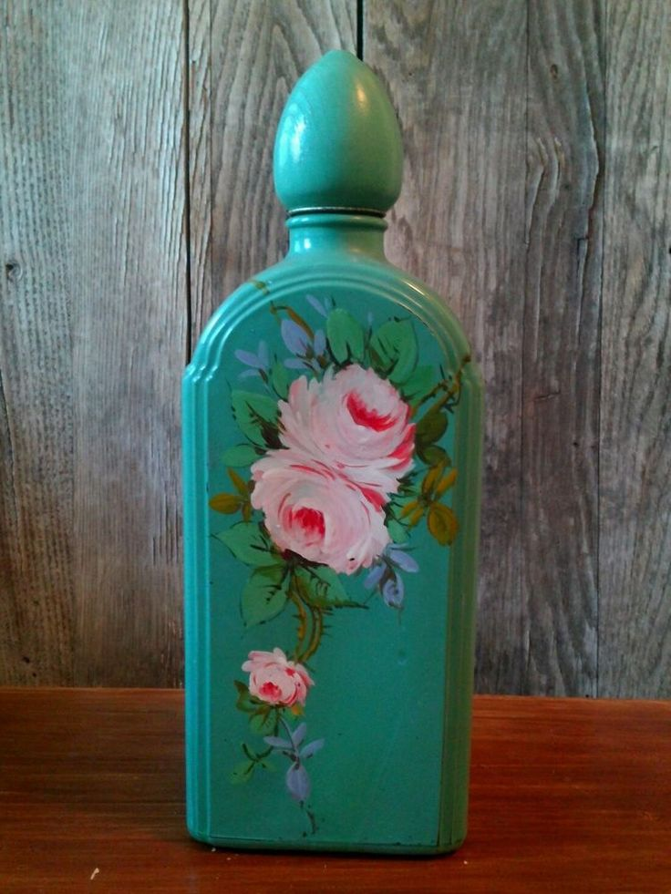 #VINTAGE HOLLYWOOD CRAFTSMAN Hand #Painted #Glass #Decanter with Floral Design  #cottage #hollywoodcraftsman