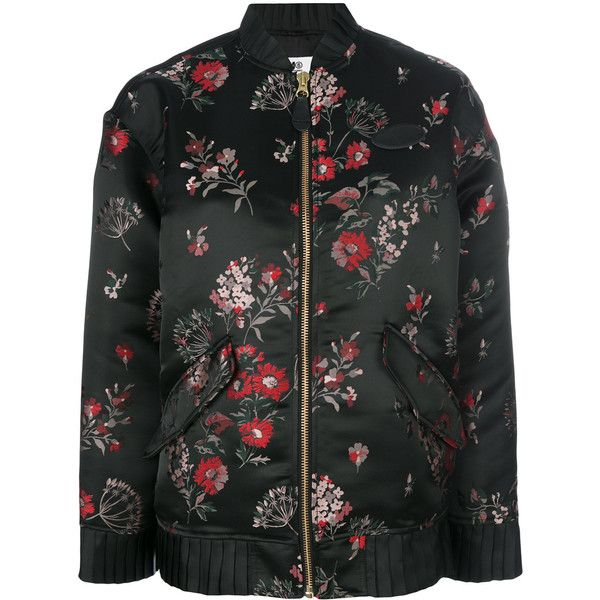 Mm6 Maison Margiela floral bomber jacket ($756) ❤ liked on Polyvore featuring outerwear, jackets, black, flight jacket, multi colored jacket, floral-print bomber jackets, blouson jacket and bomber style jacket