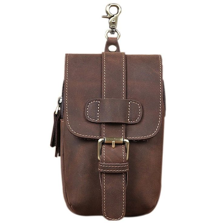 Men Vintage Waist Bag Crazy Horse 100% Genuine Leather Small Cross Body Shoulder Phone Cover Bag