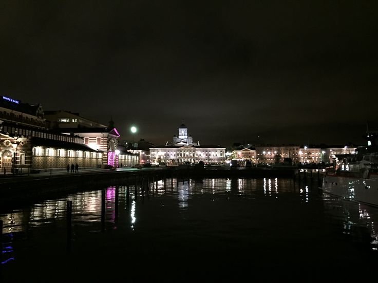 "Helsinki by night, ""Saluhallen"", City Hall, ""Domkyrkan"", ""Esplanaden"""