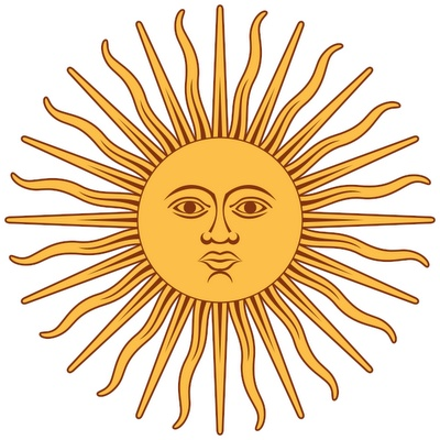 Sun in flag from Argentina
