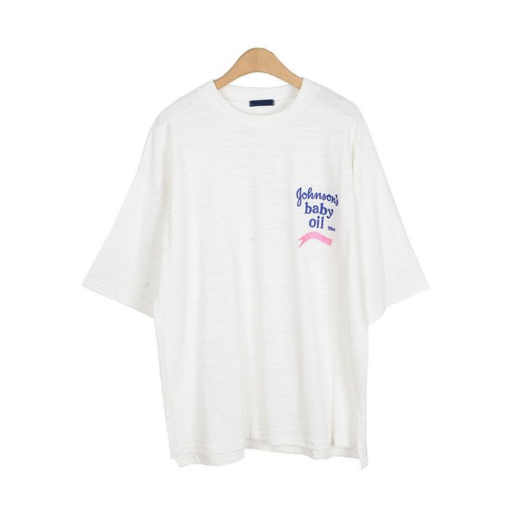 New Women's Over Fit Johnson's Baby Oil Embroidery Cotton T-shirts 4 Options #Unbranded #RoundT #Casual